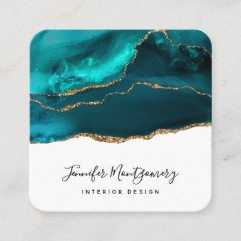 modern stylish teal & gold agate on white square business card