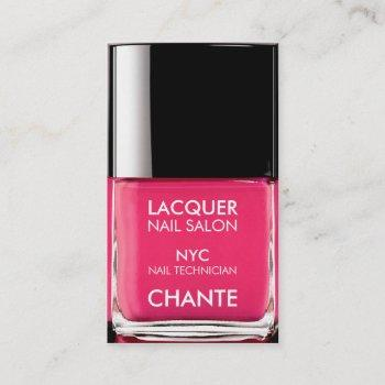 modern stylish trendy neon pink nail polish chic business card