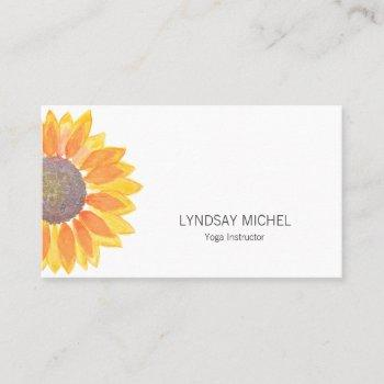 modern sunflower yoga instructor business card