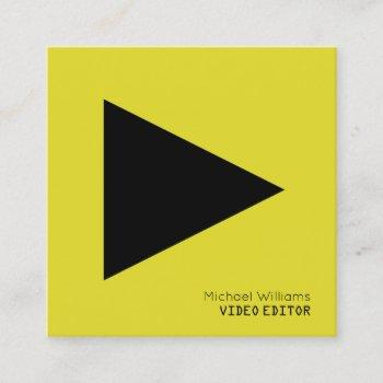 modern symbolic play button yellow square business card