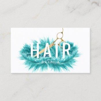 modern teal feather & gold scissor hair salon business card