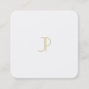 modern template chic gold monogram trendy luxury square business card