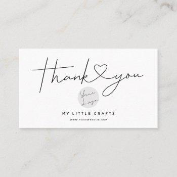 modern thank you for shopping small branding business card