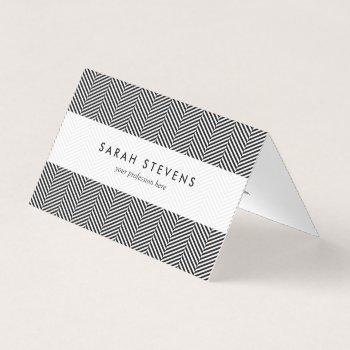 modern thin black white chevron stripes pattern business card