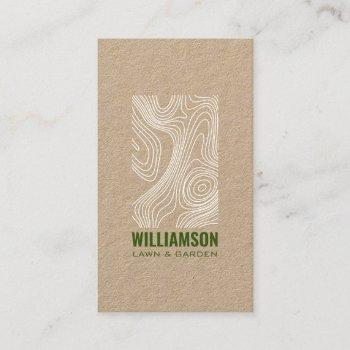 modern topography landscaping lawn care kraft business card