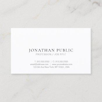 modern trendy minimalist design elegant plain chic business card
