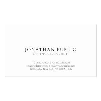 Small Modern Trendy Minimalist Design Elegant Plain Chic Business Card Front View