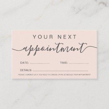 modern trendy pastel blush pink professional appointment card
