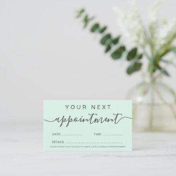 modern trendy pastel mint green professional appointment card