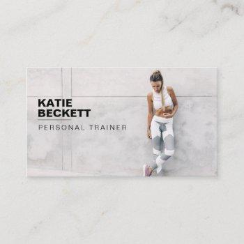 modern & trendy personal trainer fitness photo business card