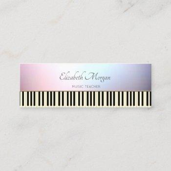 modern, trendy ,piano keys, music teacher mini business card