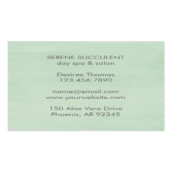 Small Modern Trendy Sage Green Watercolor Succulent Square Business Card Back View