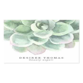 Small Modern Trendy Sage Green Watercolor Succulent Square Business Card Front View
