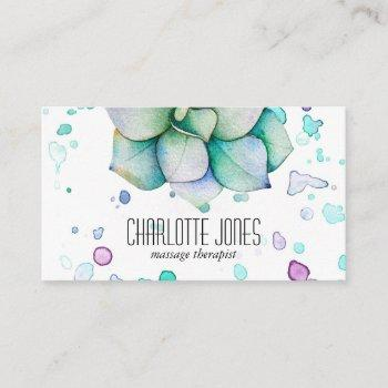 modern trendy watercolor succulent business card
