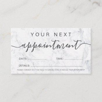 modern trendy white marble ombre professional appointment card