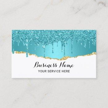 modern turquoise glitter drips abstract gold teal business card