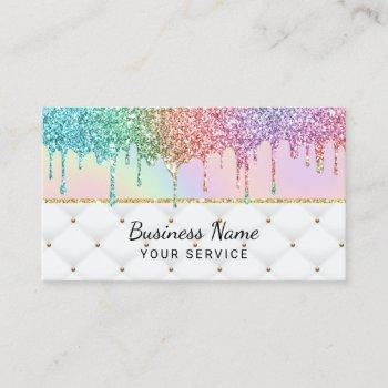 modern unicorn glitter drips pastel holography lux business card
