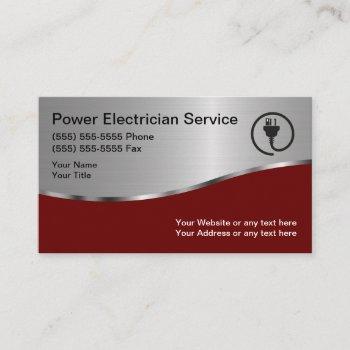 modern unique electrician business card