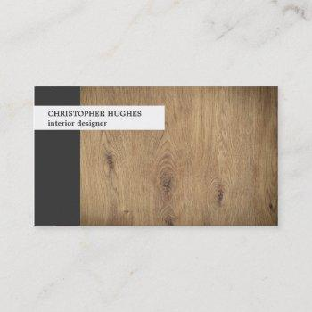 modern unique photo wooden interior designer business card