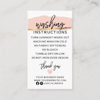 modern washing instructions clothing shirt care business card