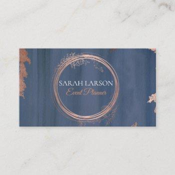 modern watercolor rose gold circle logo business card