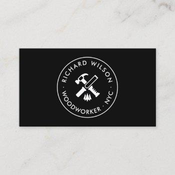 modern white and black professional carpenter logo business card