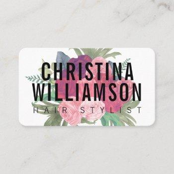 modern white bold text blush pink vintage florals business card