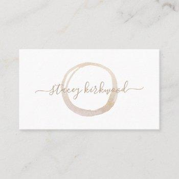 modern white gold faux glitter circle logo business card