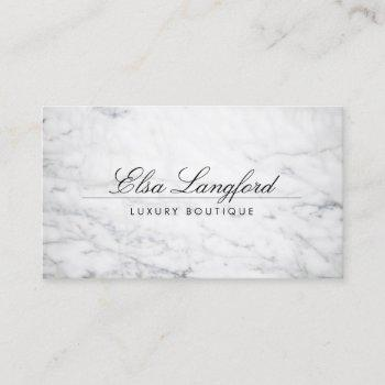 modern white marble luxury boutique business card