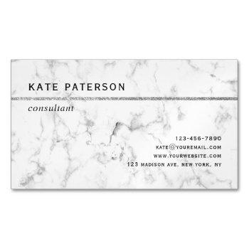modern white marble silver glitter stripe business card magnet
