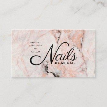 """modern white rose marble gold nails by """"name"""" business card"""