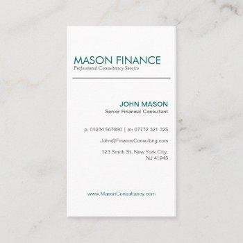 modern white upright - professional business card
