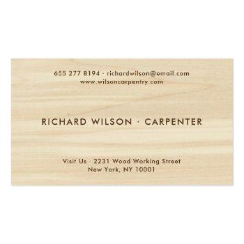 Small Modern Wood Grain Look Professional Carpenter Logo Business Card Back View