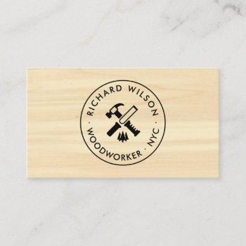 modern wood grain look professional carpenter logo business card