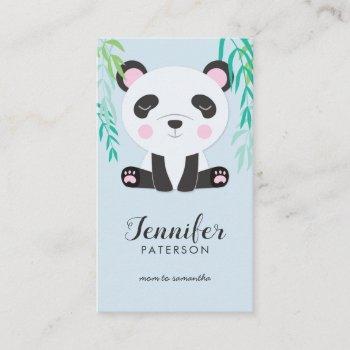 mommy calling card cute panda bear bamboo