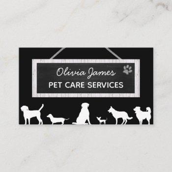 monochrome black white sign dog pet care services business card