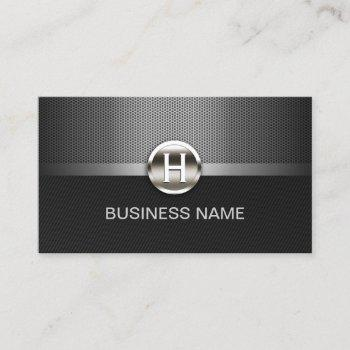 monogram automotive professional metal auto car business card