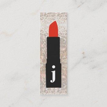 monogram beauty sequin cute makeup artist lipstick mini business card