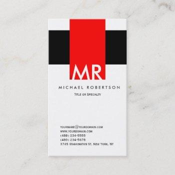 monogram black white red clean business card
