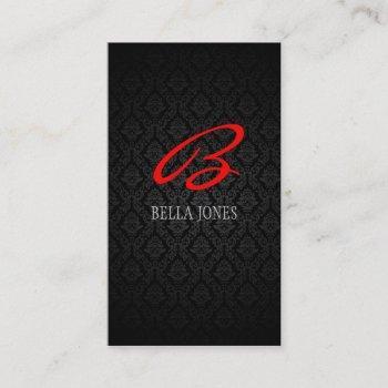 monogram damask design business card