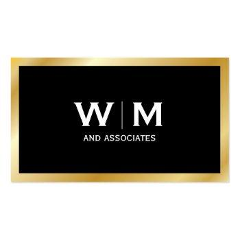 Small Monogram   Executive Gold Business Card Front View