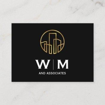 monogram | executive | golden buildings icon business card
