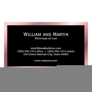 Small Monogram | Executive (rose Metallic) Business Card Back View