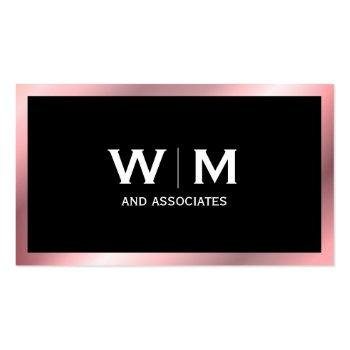 Small Monogram | Executive (rose Metallic) Business Card Front View