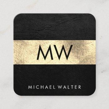 monogram faux leather / gold luxe square business card