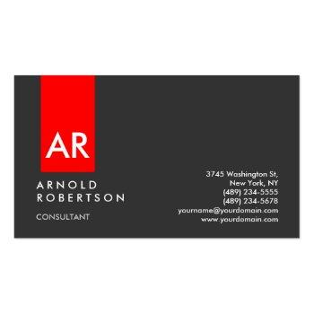 Small Monogram Gray Red Modern Consultant Business Card Front View