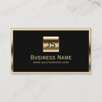 monogram initials gold framed professional dark business card