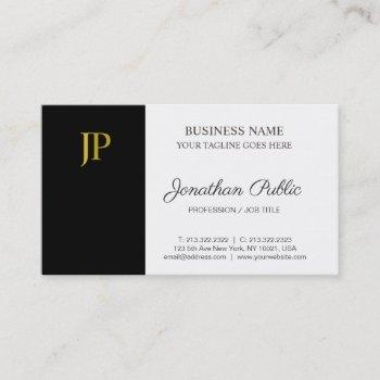monogram modern black white gold company plain business card