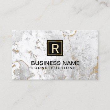 monogram modern white marble business card