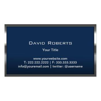 Small Monogram Navy Blue Modern Metal Frame Professional Business Card Back View